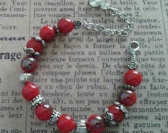 Red and silver memory bracelet