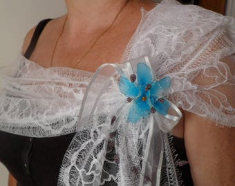 with its hand made brooch Calais lace shawl