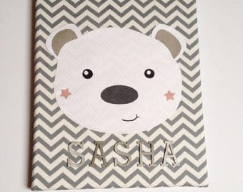 """Canvas """"Little bear personalized"""" baby bear fleece baby decor nursery baby, baby, baby picture frame"""