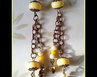 """Lemon curd"" long earrings"