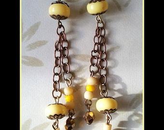 """Lemon curd"" long earrings"