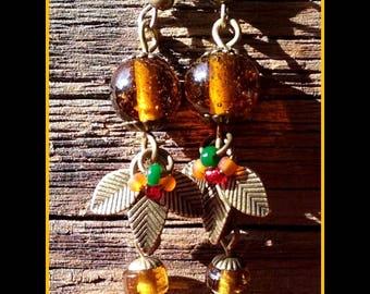 "Earrings natures, romantic and Bohemian, ""Autumn drops"""