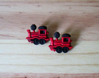 set of 2 locomotives shank buttons red and black plastic