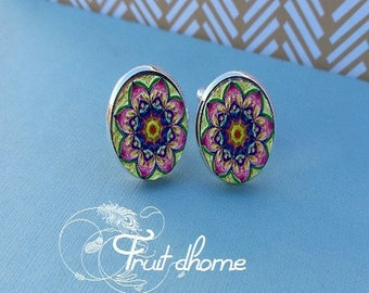 """Nice pair of cufflinks """"Iris"""" silver metal and wood cabochons hand painted"""
