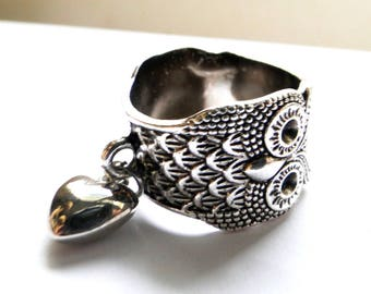OWL with silver heart charm ring