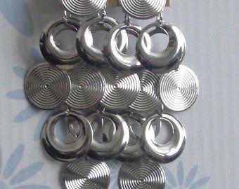 Silver dangle metal earrings