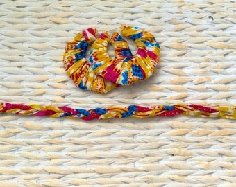 African print hooped earrings and plaited choker