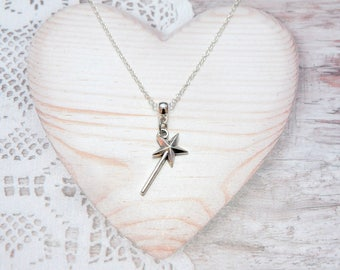 Baguette charm pendant chain necklace magical fairy