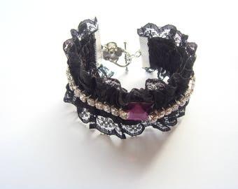 Purple rhinestone lace Cuff Bracelet