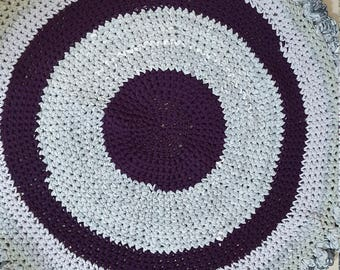 Gray base knitted rug