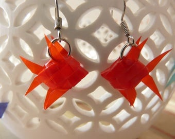 Woven red paper origami fish earrings