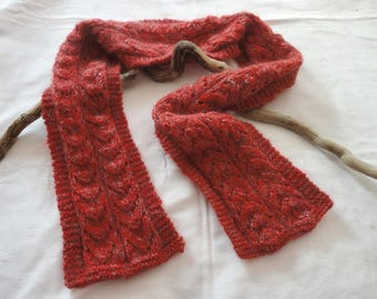 Scarf, red neck woman soft and warm hand knitted in acrylic, mohair, silk, wool scarf red