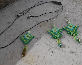 "Seed beads woven set ""the big green"""