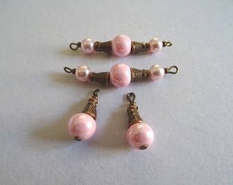 Connector and pink porcelain bead
