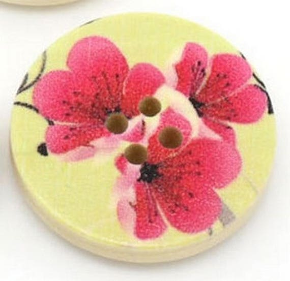 BBR30230 - 2 BUTTONS ROUND 30 MM WOODEN PATTERN WITH COLORS