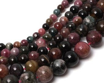 Tourmaline multicolored 4 x 20 mm round bead