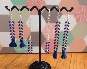 Silver earrings of Midnight blue color