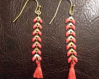 Orange gold earrings