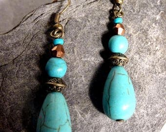 drop earrings with turquoise bead