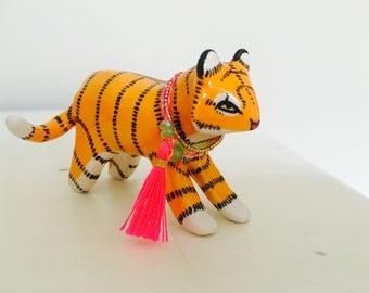 Animal sculpture, ceramic animal, ceramic tiger, animal totem, ceramic sculpture, ceramic figurine, ceramic totem, animal figurine, handmade