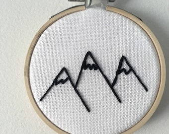 Mountain Embroidered Hoop Art