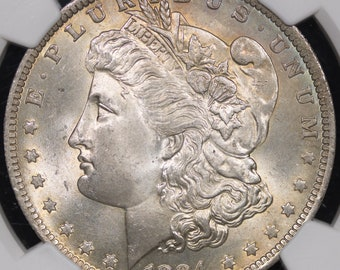 1884-O, Lightly Toned Morgan Silver Dollar NGC MS-65