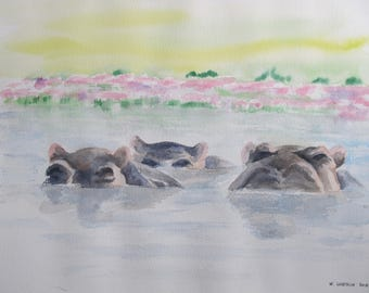 Watercolor of three hippos in the water