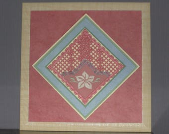 Table with a pink and beige Hardanger embroidery