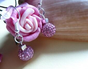 shiny Pink Rhinestone beads earrings