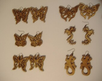 Earrings Butterfly dragon lizard salamander