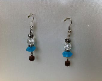 Brown and turquoise beads earrings