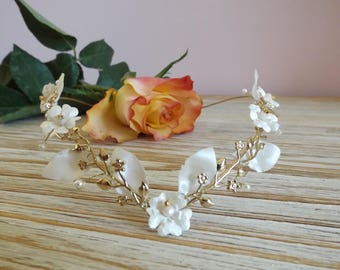 Bridal Crown, gold and ivory flowers