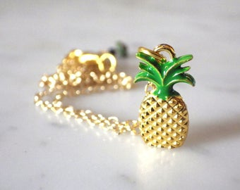 Gold plated necklace 18K - pendant on adjustable chain - pineapple