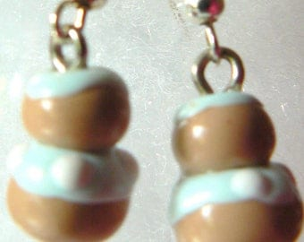 religious earrings blue Fimo glaze white dots