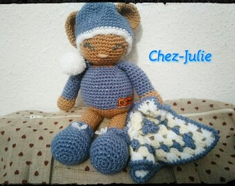 stuffed plush teddy bear hand crocheted bed