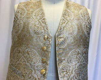 XL Gold and White Brocade Vest