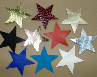 Set of 10 Star genuine leather