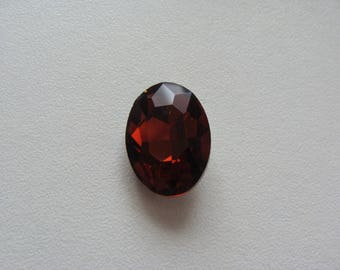 Dark amber glass oval rhinestone cabochon faceted 18 * 13 mm