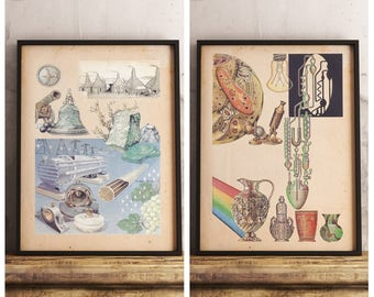 Set of 2 Prints - Cells and Fossils Vintage Prints - 1990 Chemistry Encyclopedia - Chemistry Illustration - Printable Art - Instant Download