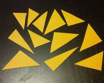 Set of 12 yellow faux leather triangles
