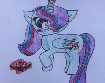 Colorful Handmade Unicorn(Alicorn) Colored Pencil Drawing on Paper