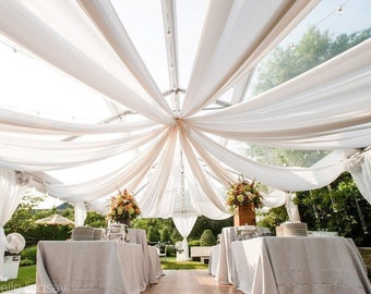 "120"" Wide (10ft Wide) Sheer Voile Chiffon Drape Panel - Perfect for Celing Draping Panels and Masking for Weddings & Events - WHITE"