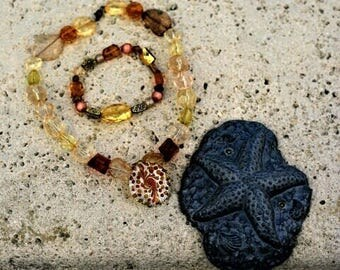 Earth tone necklace  and bracelet set