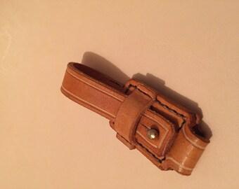 Beige leather keychain