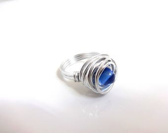 Classic Blue and silver - aluminum and ring bead - handmade