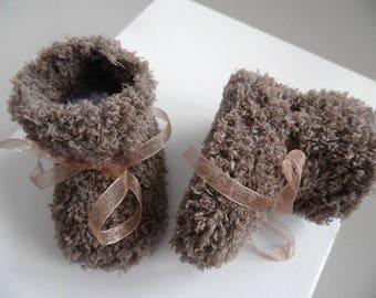 Destock: Chocolate Rico Baby booties