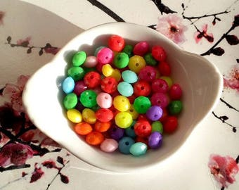 Wholesale lot of 250 beads rondelle faceted, multicolored acrylic 8mm