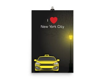 New York City Love and Taxi Poster