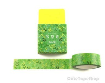 Masking tape - Washi paper, watercolor Illustration - spring green (Dimensions: 15 x 700 mm)