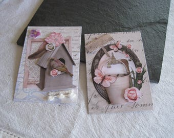 Set of 2 images, cuts, cards, 3D, bird, birdhouse, butterfly, zinc pot
